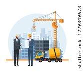construction engineer cartoon   Shutterstock .eps vector #1229349673