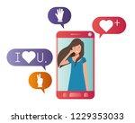 young woman in smartphone... | Shutterstock .eps vector #1229353033
