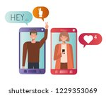 young couple in smartphone... | Shutterstock .eps vector #1229353069