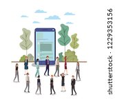 smartphone with people around... | Shutterstock .eps vector #1229353156