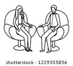business couple sitting in...   Shutterstock .eps vector #1229355856