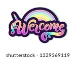 handwriting lettering welcome... | Shutterstock .eps vector #1229369119