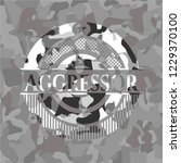 aggressor on grey camo pattern | Shutterstock .eps vector #1229370100