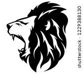 side view of lion roar. modern... | Shutterstock .eps vector #1229388130