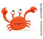 a crab lifts its leg on white... | Shutterstock .eps vector #1229388190