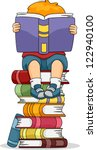 book,book collection,book pile,book stack,bookworm,boy,cartoon,cartoon people,child,clip art,clipart,cutout,educational materials,eps,graphic