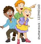 illustration of kids looking at ... | Shutterstock .eps vector #122940160