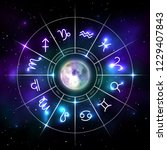 mystic zodiac wheel with star... | Shutterstock .eps vector #1229407843