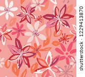 colorful spring summer floral... | Shutterstock .eps vector #1229413870