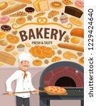bakery shop and baker man at...   Shutterstock .eps vector #1229424640