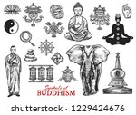 buddhism religious sketch... | Shutterstock .eps vector #1229424676