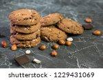 delicious chocolate cookies...   Shutterstock . vector #1229431069