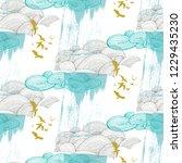 cloud pattern with birds in... | Shutterstock .eps vector #1229435230
