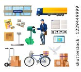 set of objects of postal... | Shutterstock .eps vector #1229449999