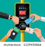 hands with transport card ... | Shutterstock . vector #1229450866