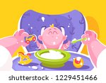 mother feeding little baby flat ... | Shutterstock .eps vector #1229451466
