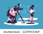 journalist and cameraman doing... | Shutterstock .eps vector #1229451469