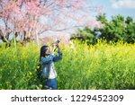 woman take a sakura cheery... | Shutterstock . vector #1229452309