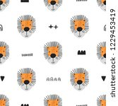 seamless pattern with lions and ... | Shutterstock .eps vector #1229453419