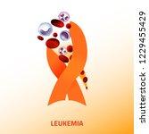 leukemia icon. orange ribbon... | Shutterstock .eps vector #1229455429