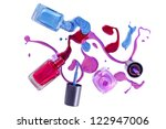 bottles with spilled nail...   Shutterstock . vector #122947006