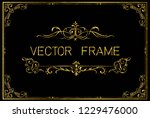 golden invitation floral frame... | Shutterstock .eps vector #1229476000