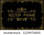 golden invitation floral frame... | Shutterstock .eps vector #1229476003