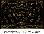 set of golden invitation floral ... | Shutterstock .eps vector #1229476006