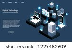 isometric server room and big... | Shutterstock .eps vector #1229482609