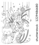 christmas coloring page for... | Shutterstock . vector #1229486680