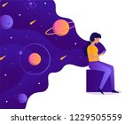 the girl is holding a... | Shutterstock .eps vector #1229505559
