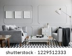 grey spacious living room with...   Shutterstock . vector #1229512333