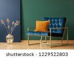 brown cushion on blue armchair... | Shutterstock . vector #1229522803
