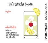 john collins alcoholic cocktail ... | Shutterstock .eps vector #1229523016