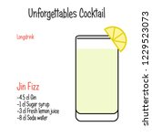 gin fizz alcoholic cocktail... | Shutterstock .eps vector #1229523073