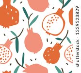 doodle red pomegranate vector... | Shutterstock .eps vector #1229523829