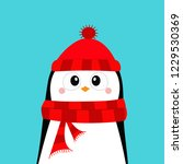 penguin wearing red hat and... | Shutterstock .eps vector #1229530369