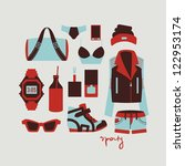 collection of isolated woman clothes and accessories in sporty style vector illustration eps 10
