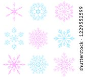 set of 9 vector blue and pink... | Shutterstock .eps vector #1229552599