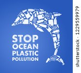 stop ocean plastic pollution.... | Shutterstock .eps vector #1229559979
