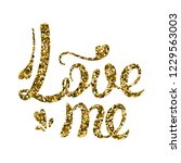 love me calligraphy. gold... | Shutterstock .eps vector #1229563003