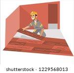 floor installer male working...   Shutterstock .eps vector #1229568013