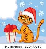 Tabby Blue Cat In Cap Santa...