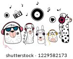 cute animals with headphones.... | Shutterstock .eps vector #1229582173