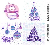 set of christmas cards with...   Shutterstock .eps vector #1229585869