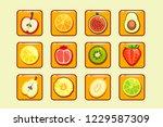 different fruit and berries... | Shutterstock . vector #1229587309