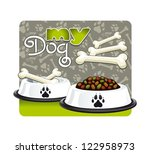 my dog. illustration of a bowl...   Shutterstock . vector #122958973