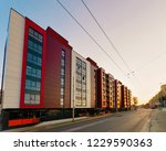 sunset at modern residential... | Shutterstock . vector #1229590363