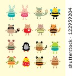 cute animal doodle | Shutterstock .eps vector #122959204