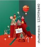 christmas greetings template... | Shutterstock .eps vector #1229596840
